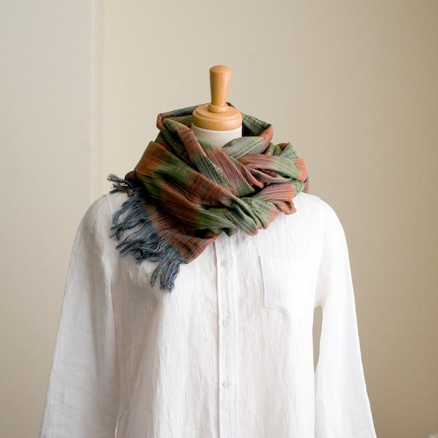 二重織ジャガードのストールキット(オレンジ&グリーン) イメージ1
