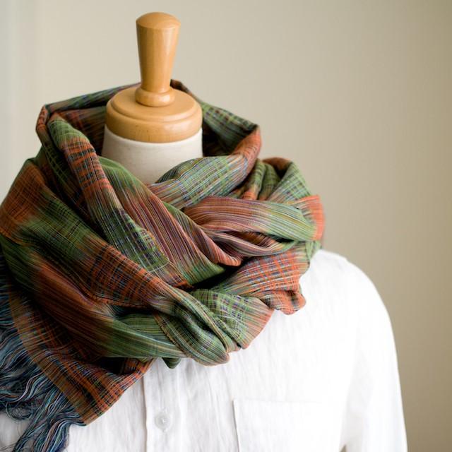 二重織ジャガードのストールキット(オレンジ&グリーン) イメージ2