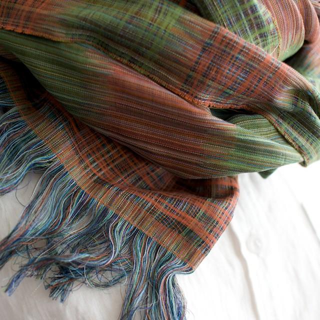 二重織ジャガードのストールキット(オレンジ&グリーン) イメージ3