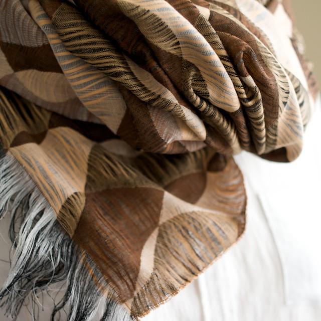 二重織ジャガードのストールキット(ブラウンミックス) イメージ2