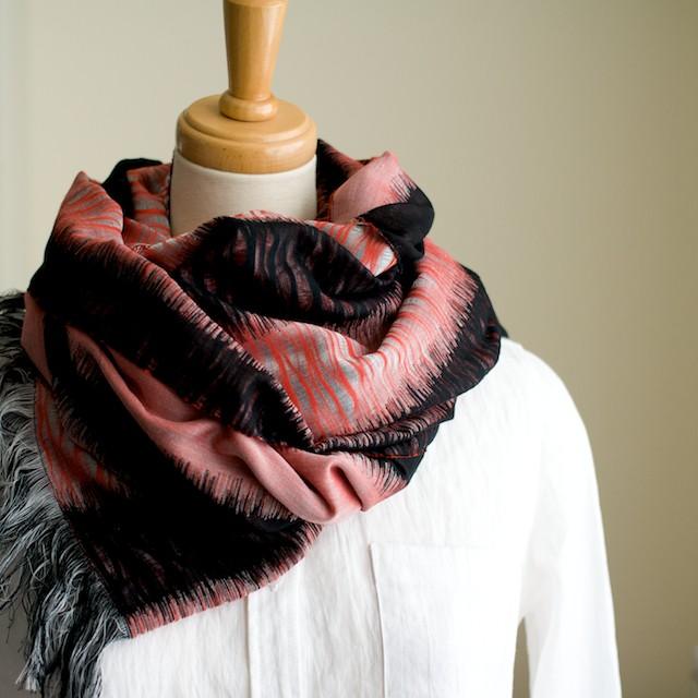 二重織ジャガードのストールキット(レッド&ブラック) イメージ2