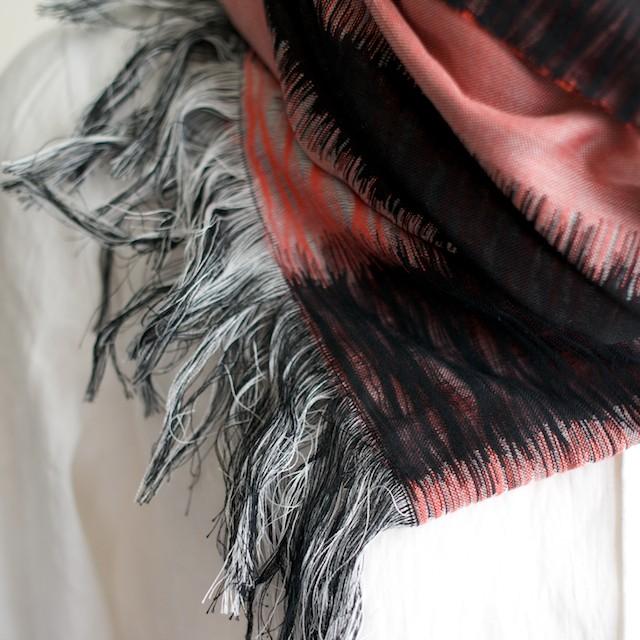 二重織ジャガードのストールキット(レッド&ブラック) イメージ3