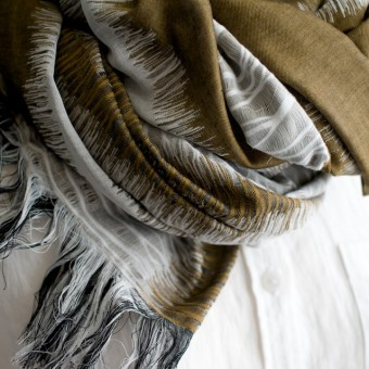 二重織ジャガードのストールキット(カーキオリーブ) サムネイル2