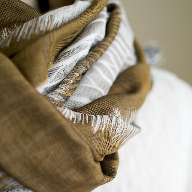 二重織ジャガードのストールキット(カーキオリーブ) イメージ3