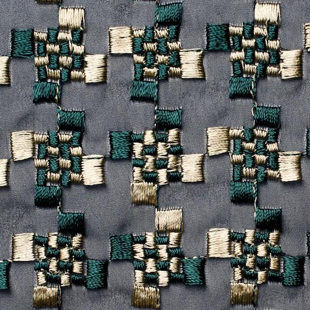 ポリエステル×幾何学模様(ゴールド&モスグリーン)×ジョーゼット刺繍_全2色 イメージ1