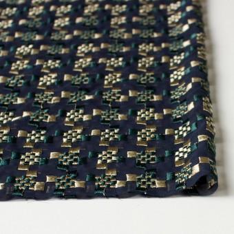 ポリエステル×幾何学模様(ゴールド&モスグリーン)×ジョーゼット刺繍_全2色 サムネイル3