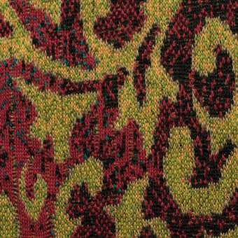 アクリル&ウール×幾何学模様(マスタード&レッド)×ジャガードニット_全3色