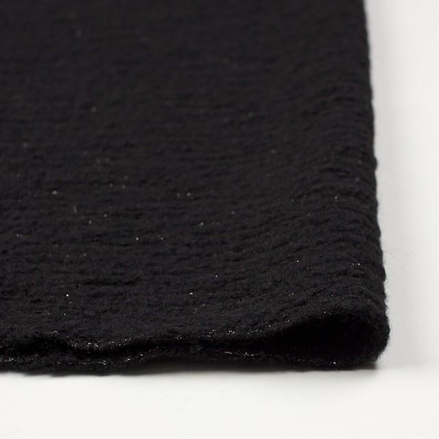 ウール&アクリル混×無地(ブラック)×ループニット イメージ3