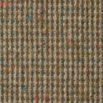 ウール&ポリエステル混×ミックス(ベージュ&スレートグリーン)×千鳥格子ツイード