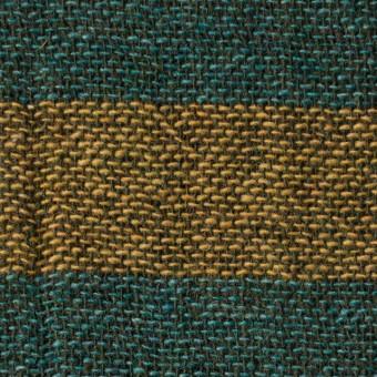 ウール&ポリエステル混×ボーダー(ターメリック&アクアブルー)×Wガーゼ