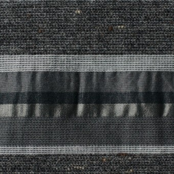 ナイロン&コットン混×ボーダー(グレーミックス×タフタジャガード