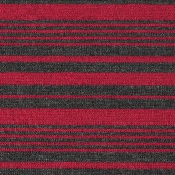 テンセル&ウール混×ボーダー(レッド)×天竺ニット_全2色