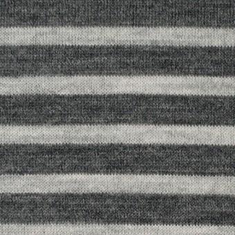 ウール×ボーダー(グレー)×天竺ニット