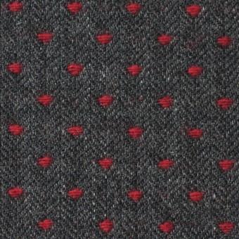ウール&ナイロン×ドット(レッド&チャコールグレー)×ヘリンボーンジャガード