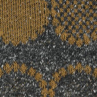 コットン&アクリル混×幾何学模様(オーカー&グレー)×ジャガードニット