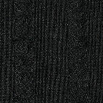 アクリル&ウール混×無地(チャコールブラック)×模様編みニット