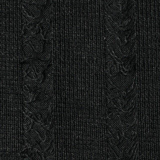 アクリル&ウール混×無地(チャコールブラック)×模様編みニット イメージ1