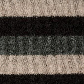 アクリル×ボーダー(グレー&ブラウン、ベージュ)×天竺ループニット