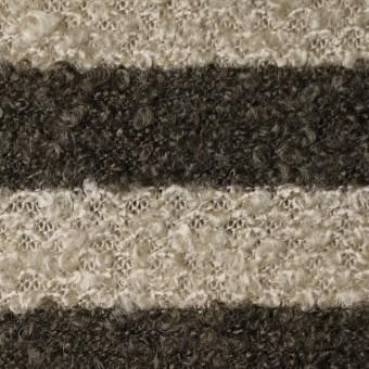 ウール&ポリエステル×ボーダー(ベージュ&カーキブラウン)×ループニット_全2色