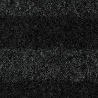 ウール&ポリエステル×ボーダー(チャコールグレー&ブラック)×ループニット_全2色