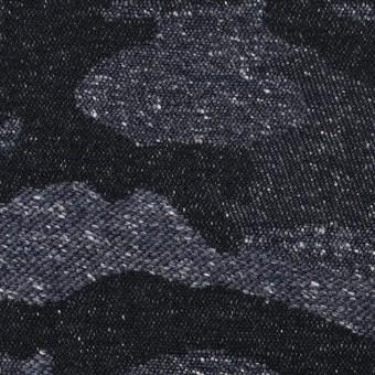 コットン&アクリル混×迷彩(アイアンブルー)×ジャガード_全5色