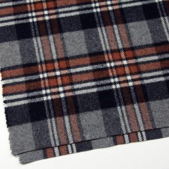 ウール&ポリエステル×チェック(レッドブリック、ブラック&グレー)×厚カルゼ サムネイル2