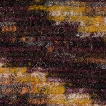 モヘア&ウール混×幾何学模様(イエロー、オレンジ&エンジ)×ループニット_全4色_イタリア製