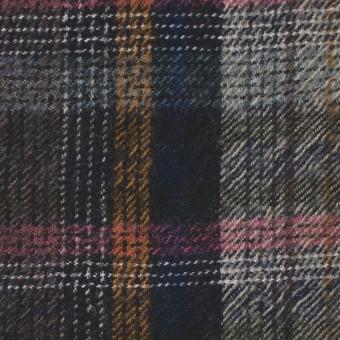 ウール&コットン×チェック(ブルーミックス)×ビエラ_全2色_イタリア製