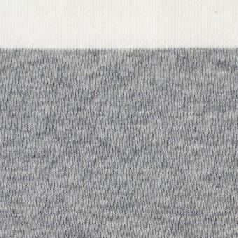 コットン×ボーダー(ホワイト&グレー)×裏毛ニット