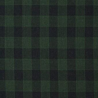 コットン×チェック(グリーン&ブラック)×薄サージ
