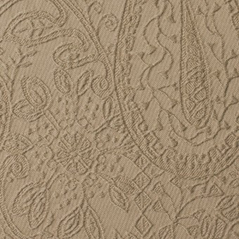 コットン&ポリウレタン×ペイズリー(ベージュ)×サテンジャガード・ストレッチ_全2色