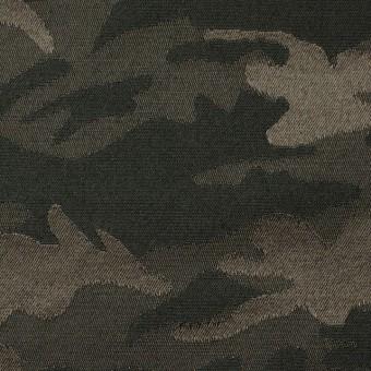 コットン&ポリエステル混×迷彩(ダークカーキミックス)×サテンジャガード・ストレッチ