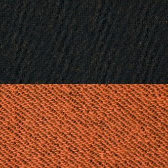 コットン×無地(ブラック&オレンジ)×裏毛ニット