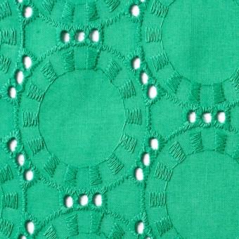 コットン×オーバル(エメラルドグリーン)×ローン刺繍_全10色