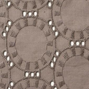コットン×オーバル(カーキブラウン)×ローン刺繍_全10色