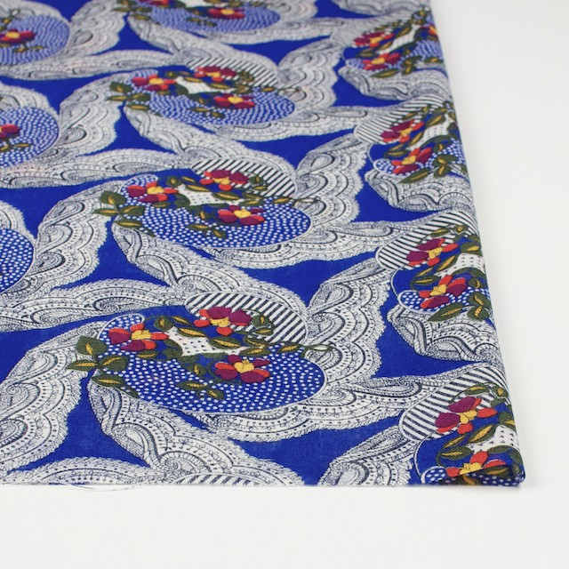 ウール×幾何学模様(ロイヤルブルー)×ボイル_全2色_イタリア製 イメージ3
