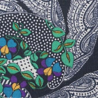 ウール×幾何学模様(ダークネイビー)×ボイル_全2色_イタリア製