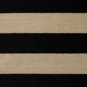 ウール×ボーダー(ベージュ&ブラック)×天竺ニット
