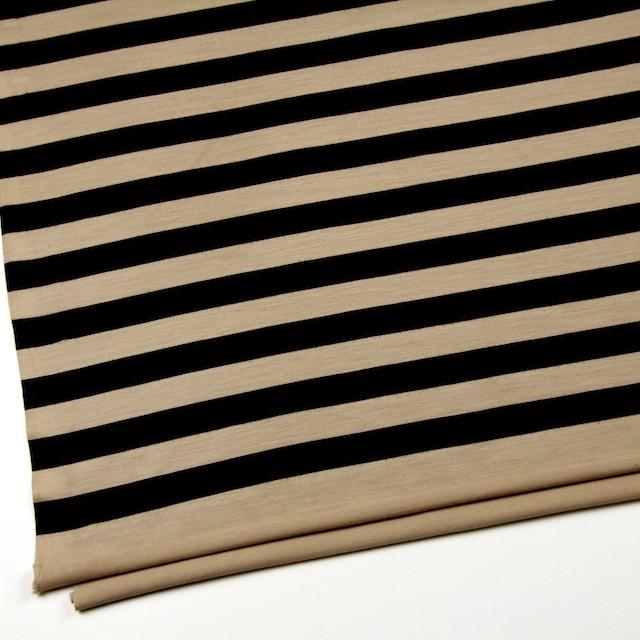 ウール×ボーダー(ベージュ&ブラック)×天竺ニット イメージ2