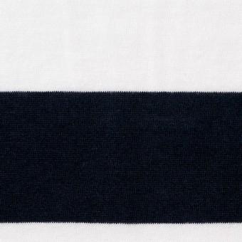 コットン×ボーダー(オフホワイト&ブラック)×天竺ニット_全2色