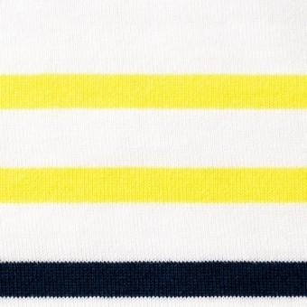 コットン×ボーダー(ホワイト&イエロー、ダークネイビー)×天竺ニット