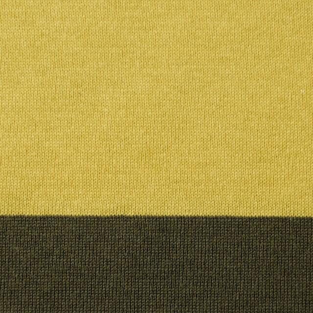 コットン×ボーダー(バナナ&カーキ)×天竺ニット イメージ1