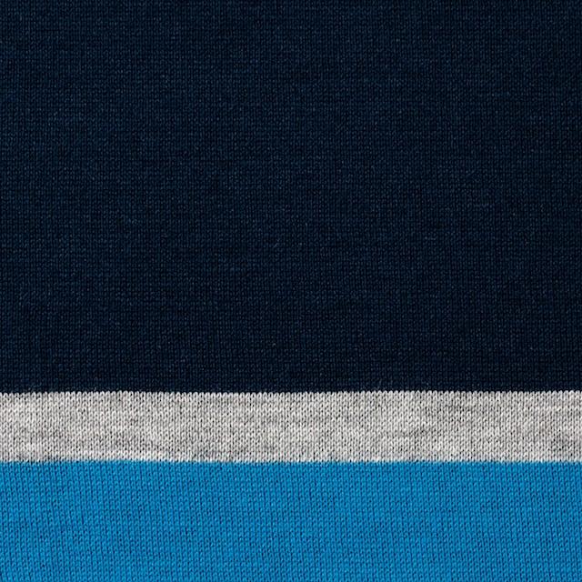 コットン×ボーダー(ブルーミックス)×天竺ニット_全3色_パネル イメージ1