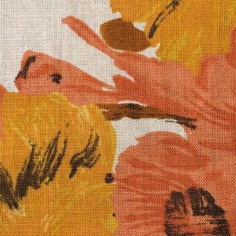 リネン×フラワー(オレンジ)×薄キャンバス_全2色