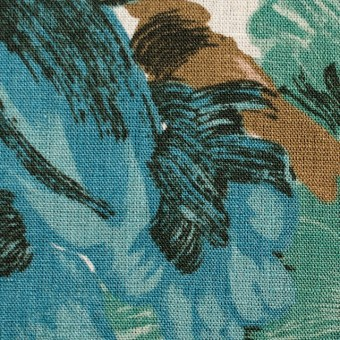 リネン×フラワー(ブルー)×薄キャンバス_全2色