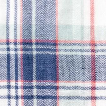 コットン&リネン混×チェック(ヒヤシンスブルー)×ヘリンボーン_全3色
