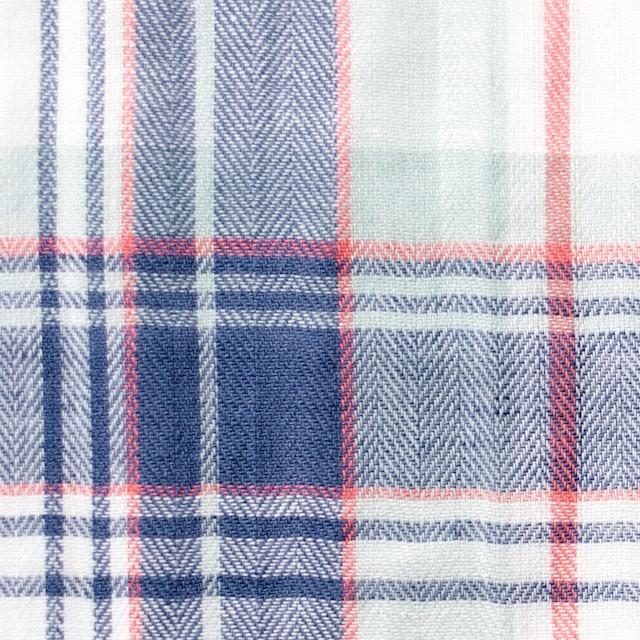 コットン&リネン混×チェック(ヒヤシンスブルー)×ヘリンボーン_全3色 イメージ1