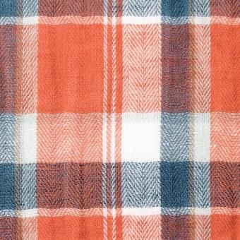 コットン&リネン混×チェック(オレンジ)×ヘリンボーン_全3色
