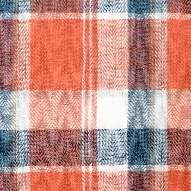 コットン&リネン混×チェック(オレンジ)×ヘリンボーン_全3色 イメージ1