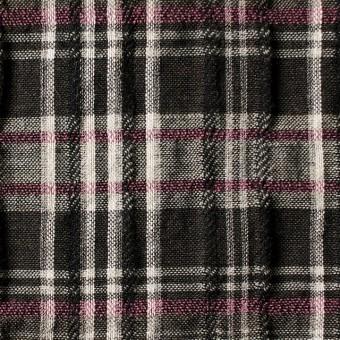 コットン&リネン×チェック(ピンク&ブラウン)×ガーゼ・タテタック_全2色